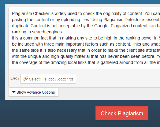 Check plagiarism without word limit